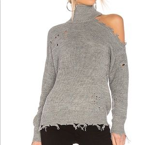 Lovers + Friends Distressed Gray Sweater